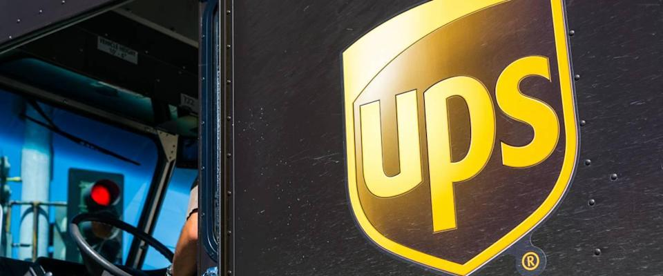 Close up of UPS logo printed on a delivery truck